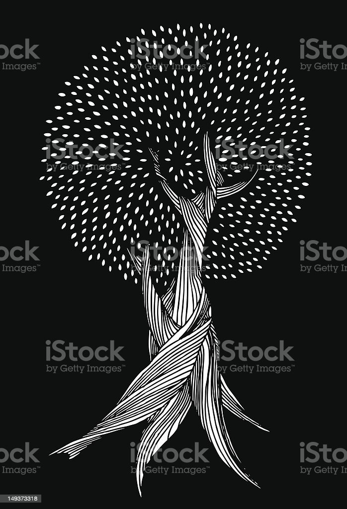 A line drawing of a white speckled tree vector art illustration