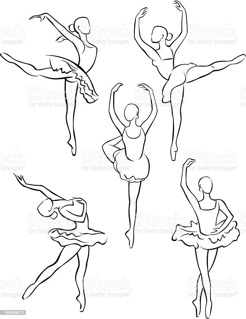 Line Drawing Dancer : Line drawing of ballerinas stock vector art