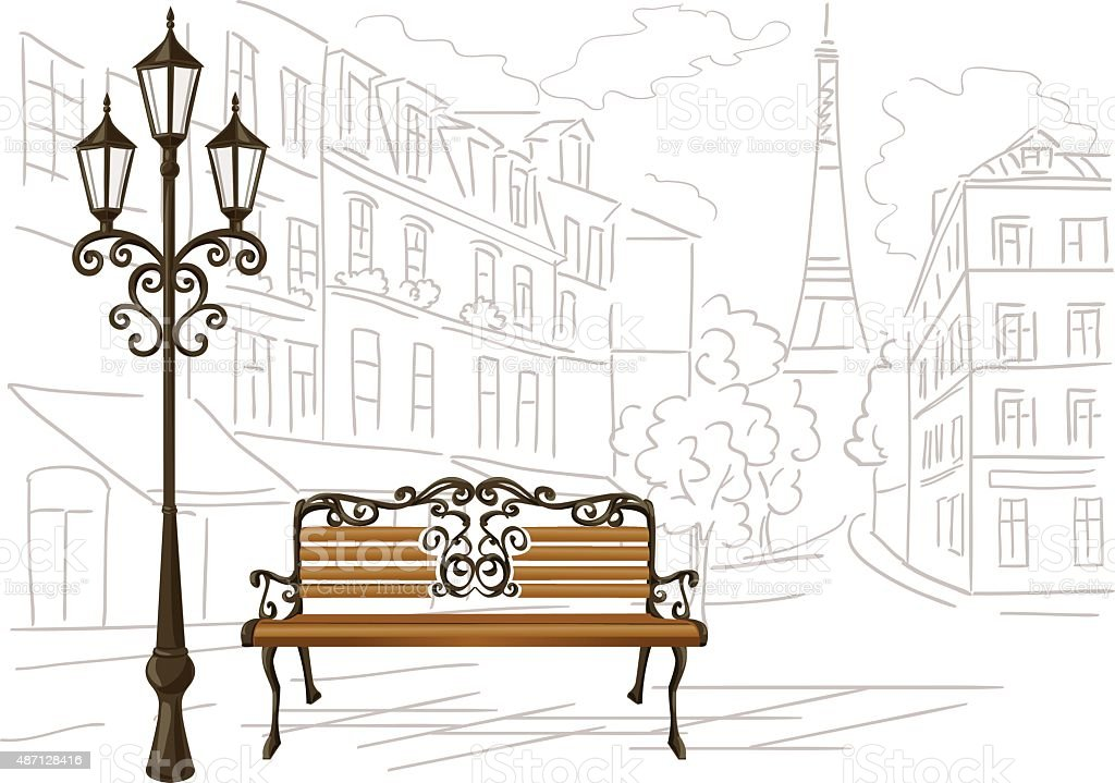 line drawing of Paris, a bench and a lantern vector art illustration