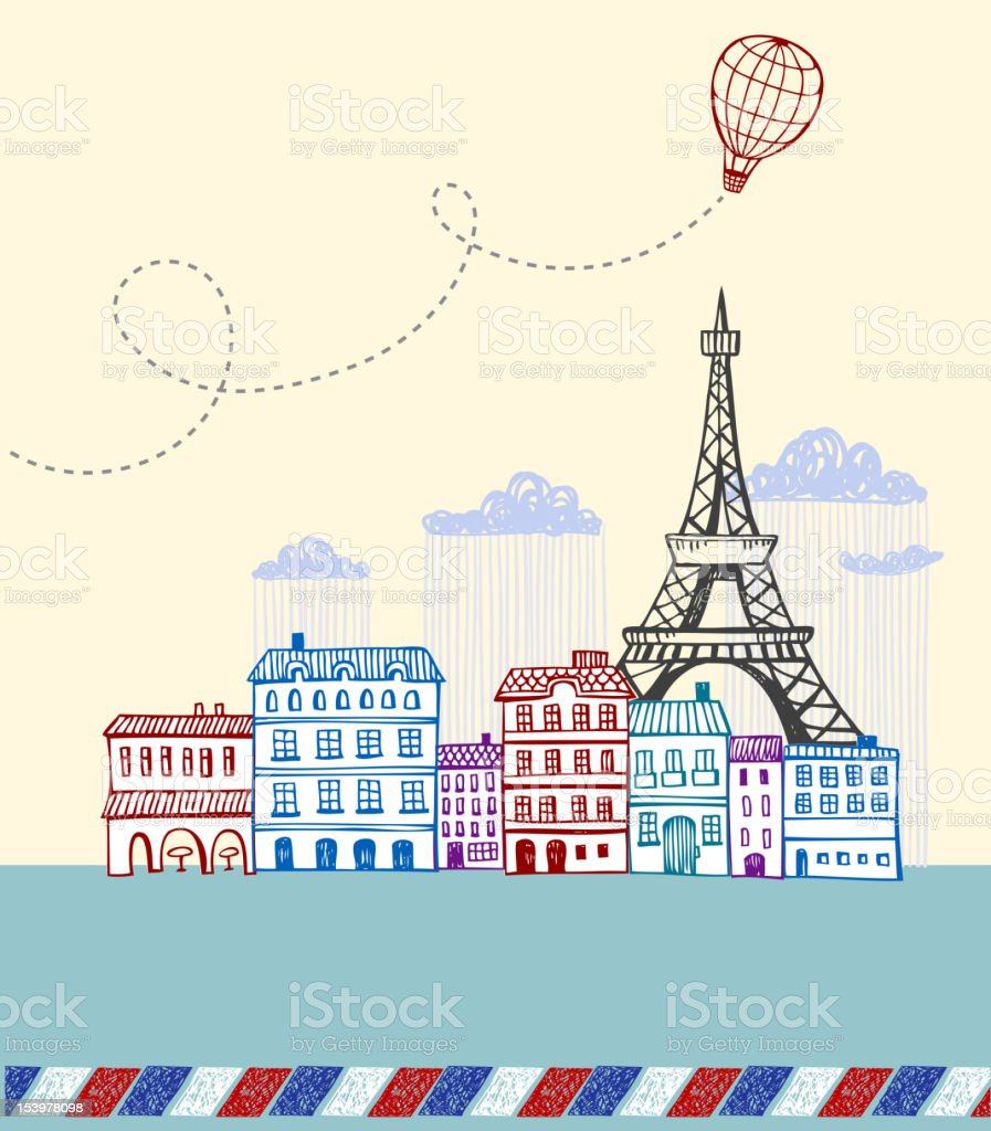 Line drawing of rain-flooded Paris on vintage postcard royalty-free stock vector art