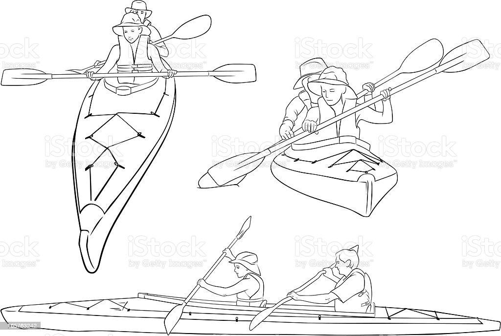Line drawings of double kayaks vector art illustration