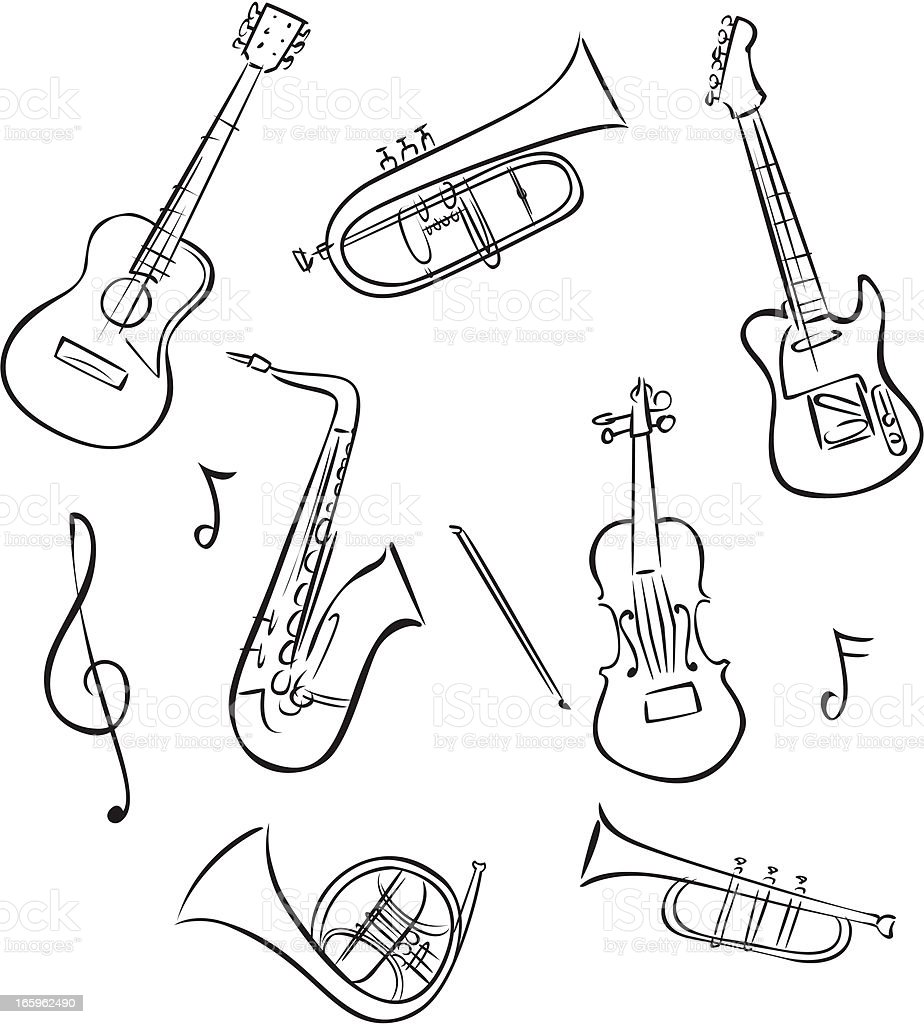 Line drawings of musical instruments vector art illustration