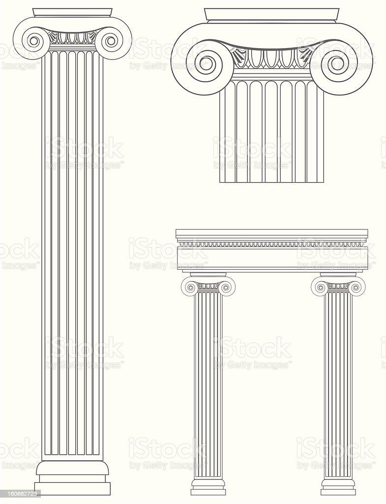 Line drawings of Roman columns royalty-free stock vector art
