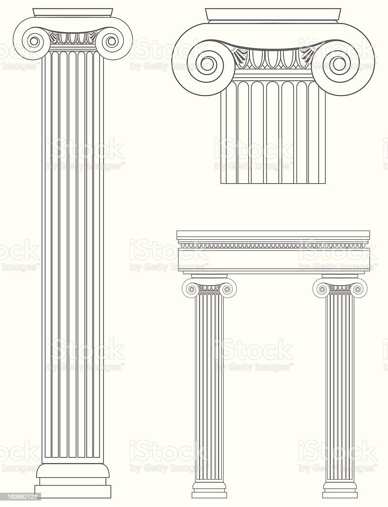 Line drawings of Roman columns vector art illustration