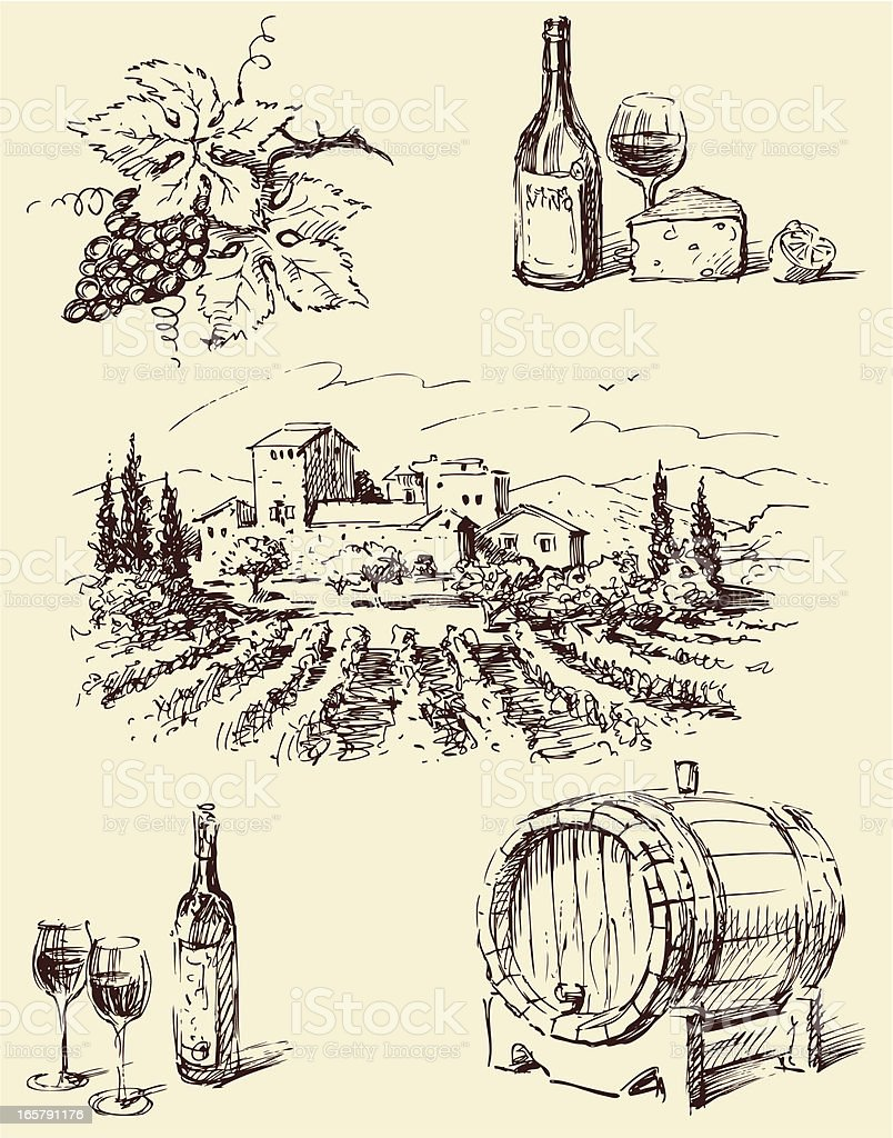 Line drawings of winemaking imagery vector art illustration