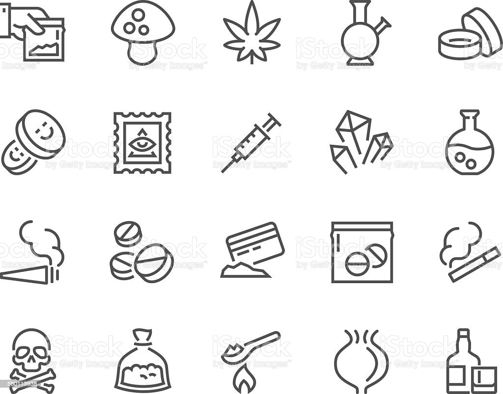 Line Drugs Icons vector art illustration