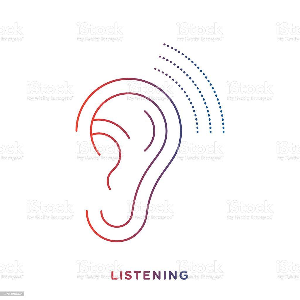 Line Ear Symbol vector art illustration