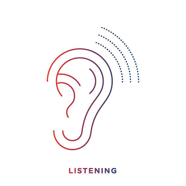 Line Drawing Ear : Listening clip art vector images illustrations istock