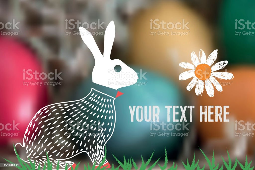 line easter bunny on colorful blurred easter nest background vector art illustration