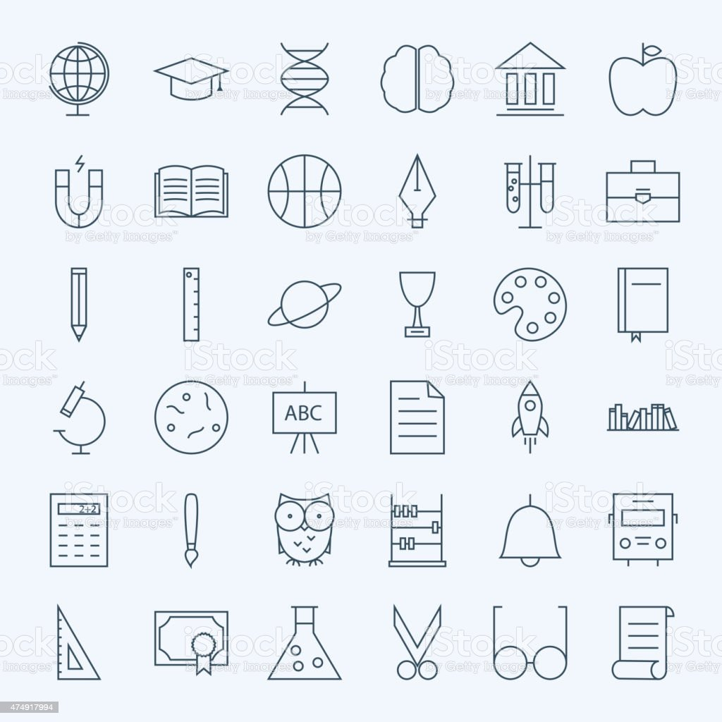 Line Education and Science Icons Set vector art illustration
