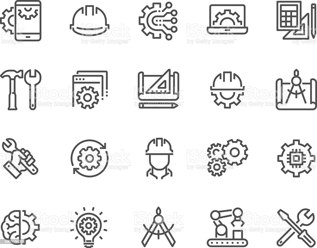 Line Engineering Icons vector art illustration