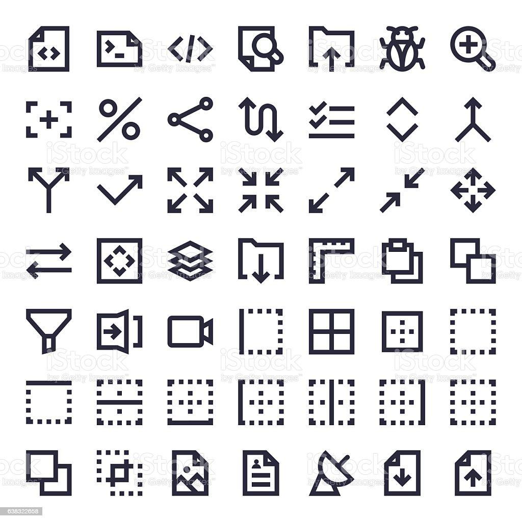 Line Essential Icons 32 vector art illustration