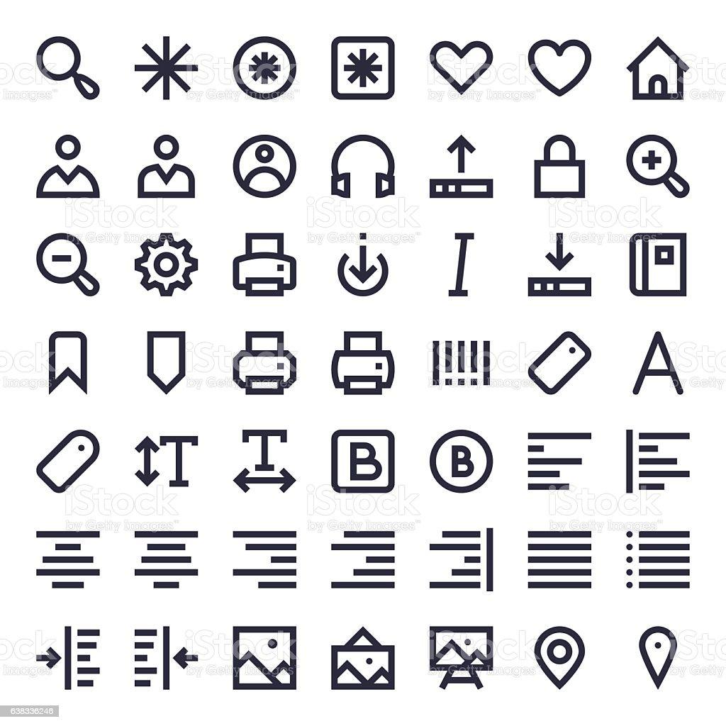 Line Essential Icons 51 vector art illustration