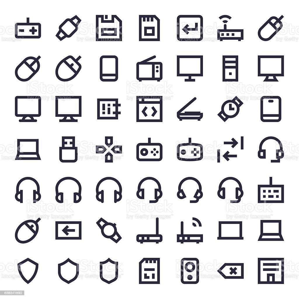 Line Essential Icons 77 vector art illustration