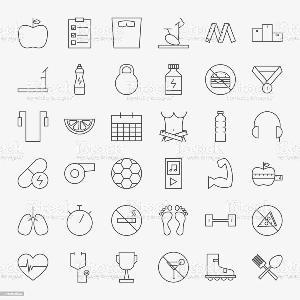 Line Fitness and Dieting Icons Big Set vector art illustration