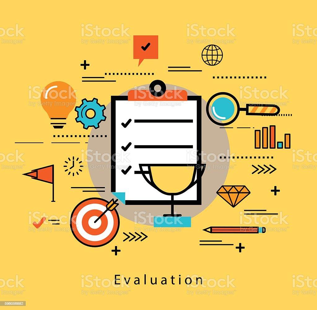 Line flat business design for rating and evaluating customer service vector art illustration