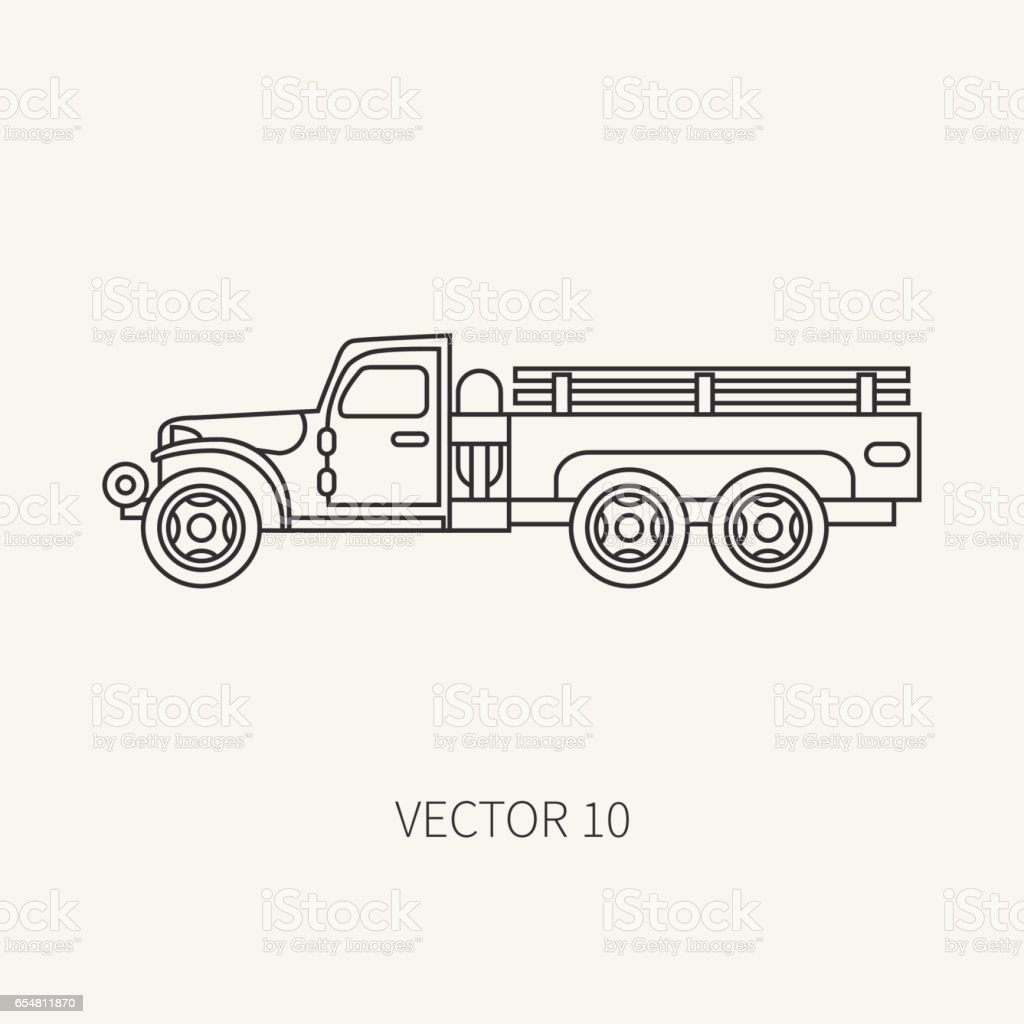 Line flat plain vector icon service staff open body army truck. Military vehicle. Cartoon vintage style. Cargo transportation. Tractor unit. Tow auto. Simple. Illustration and element for your design. vector art illustration