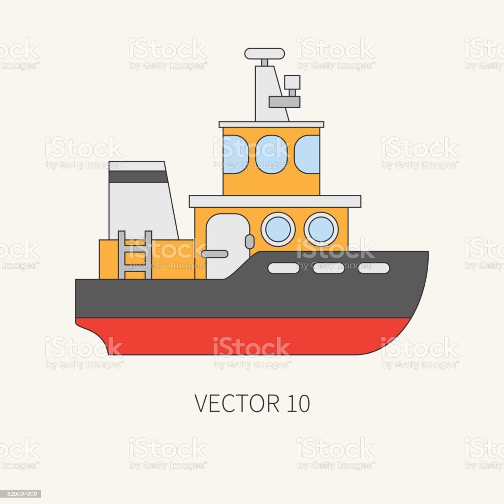 Line flat vector color icon comercial tugboat. Merchant fleet. Cartoon vintage style. Ocean. Sea. Barge. Tow. Port. Transportation. Captain. Sail. Simple. Illustration and element for your design. vector art illustration