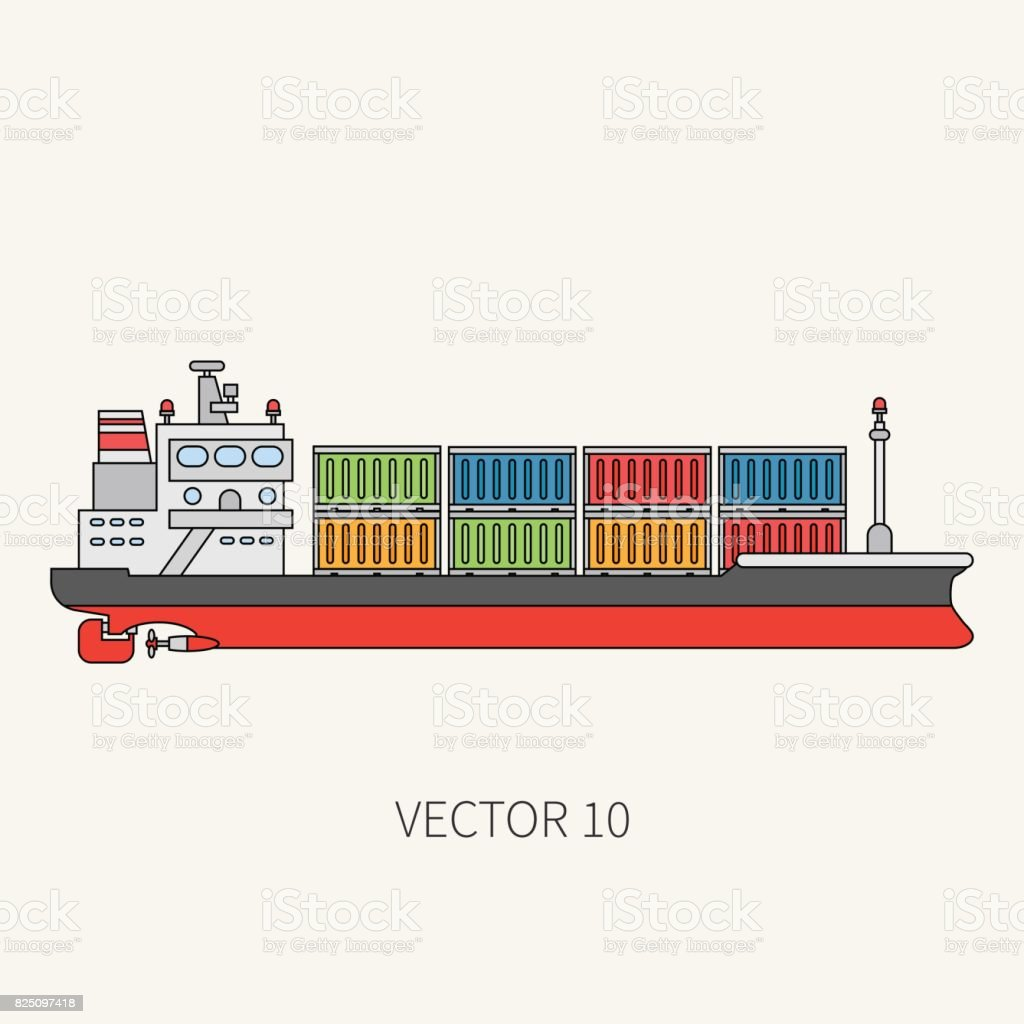 Line flat vector color icon container cargo ship. Merchant fleet. Cartoon vintage style. Ocean. Sea. Barge. Comercial. Transportation. Captain. Sail. Simple. Illustration and element for your design. vector art illustration
