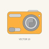 Line flat vector icon digital action camera. Photography. Megapixel. Creativity.