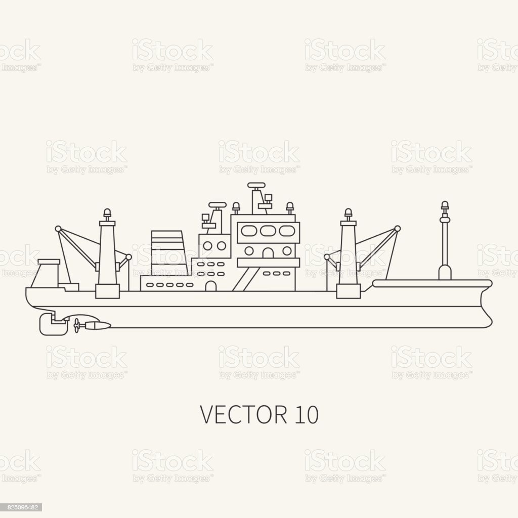 Line flat vector retro icon comercial trawler ship. Fishing fleet. Cartoon style. Ocean. Sea. Refrigerator. Seafood. Industrial. Marine preserves. Captain. Sail. Illustration and element for design. vector art illustration