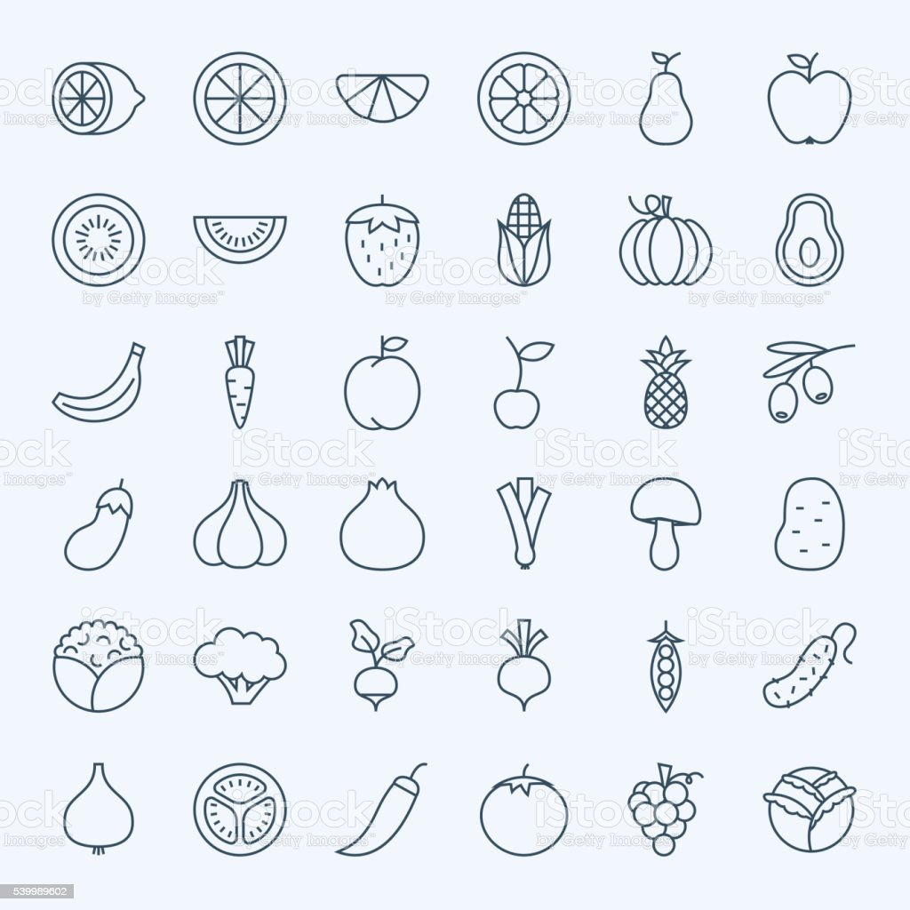 Line Fruit Vegetable Icons Set vector art illustration