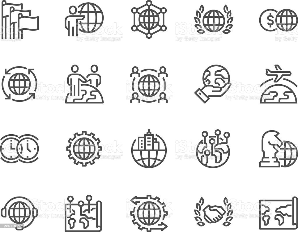 Line Global Business Icons vector art illustration