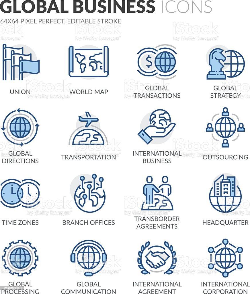 Line Global Business Icons vector art illustration