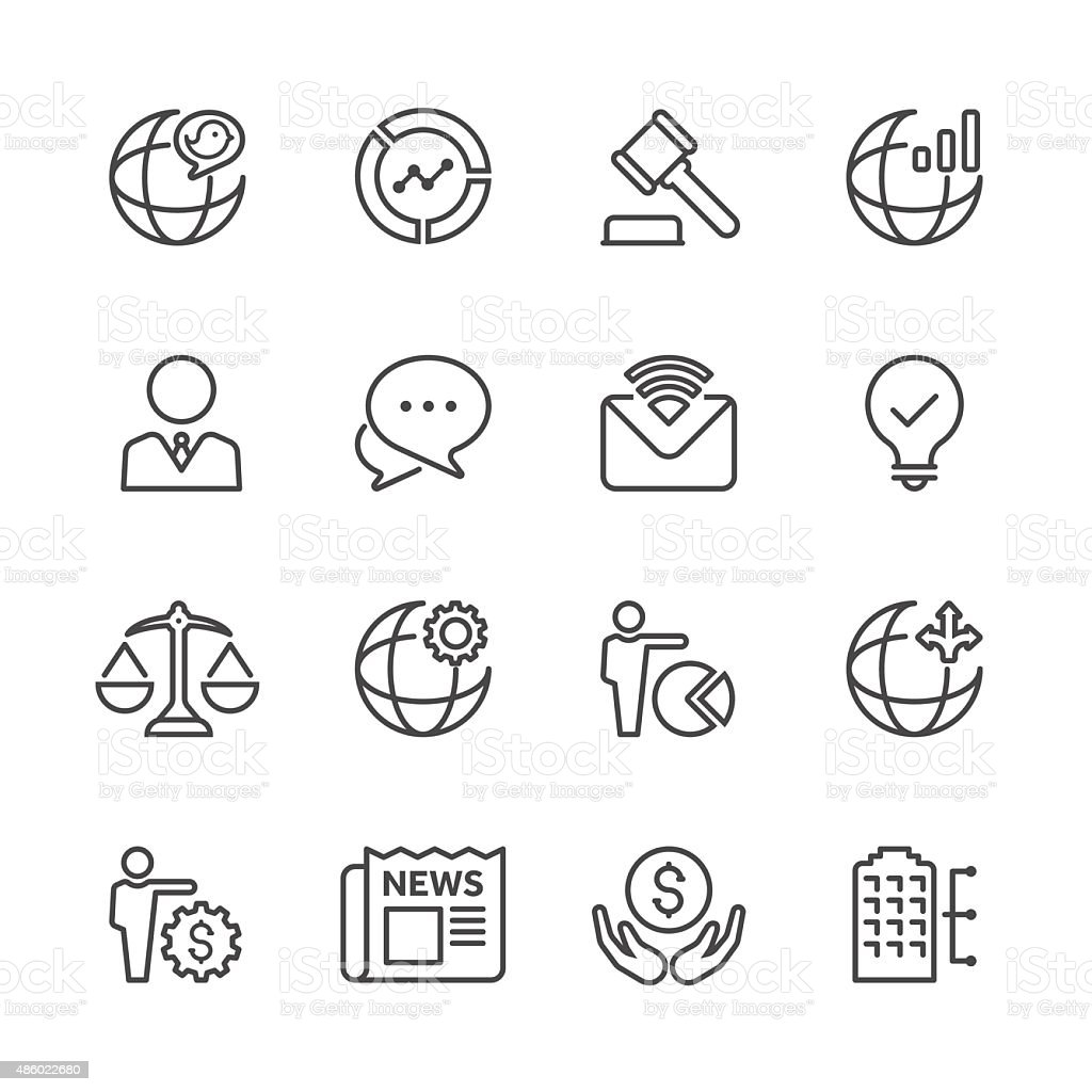 Line Globe Business Icon Set| Line icon Series vector art illustration