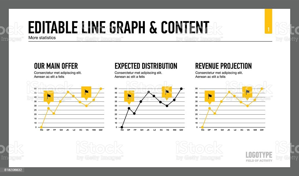 Line graph and content slide template vector art illustration