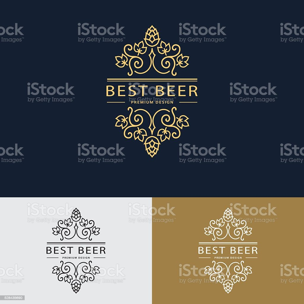 Line graphics monogram. Frame template with hops and leaves  Vector vector art illustration