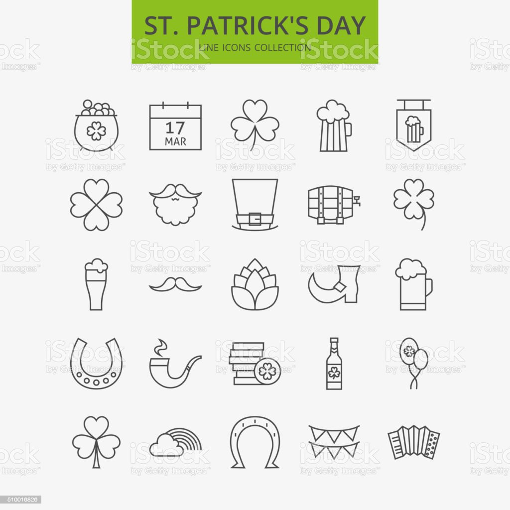 Line Happy Saint Patrick Day Icons Big Set vector art illustration