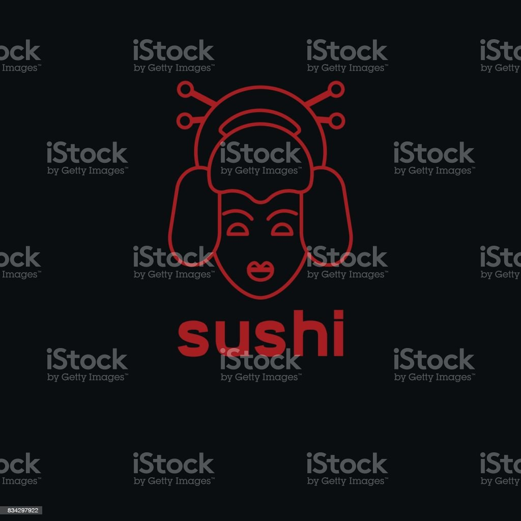 Line head geisha vector art illustration