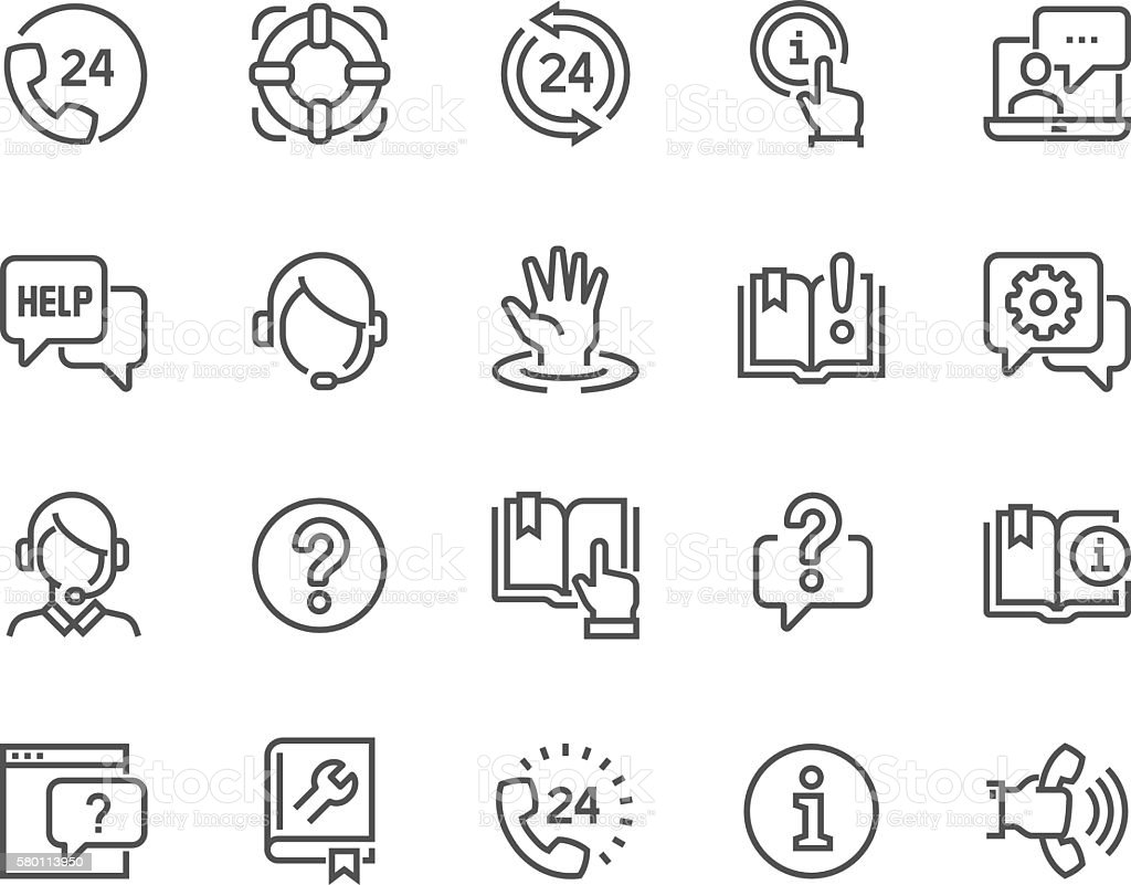 Line Help and Support Icons vector art illustration