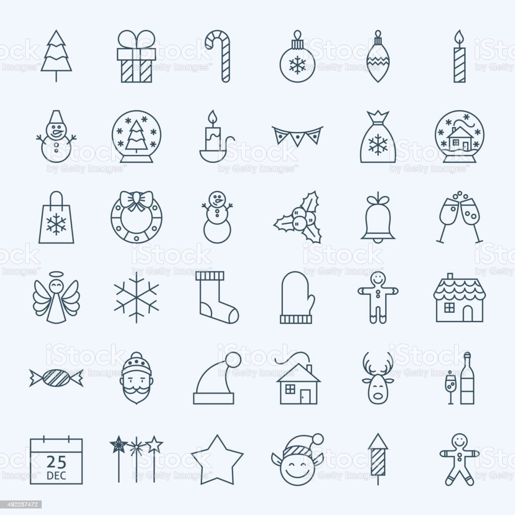 Line Holiday Christmas new Year Icons Set vector art illustration