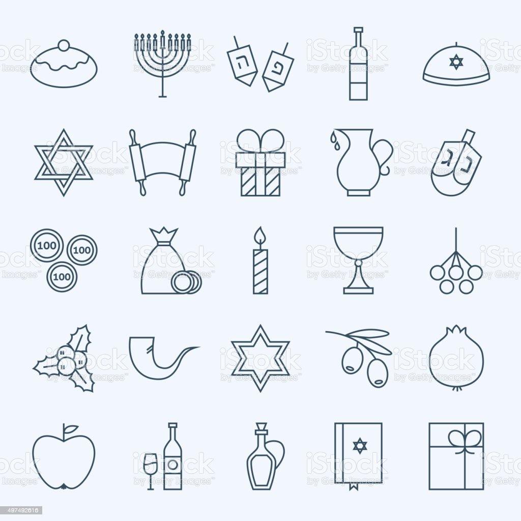 Line Holiday Happy Hanukkah Icons Set vector art illustration