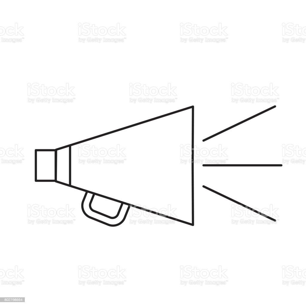 line horn speaker studio to film scene vector art illustration
