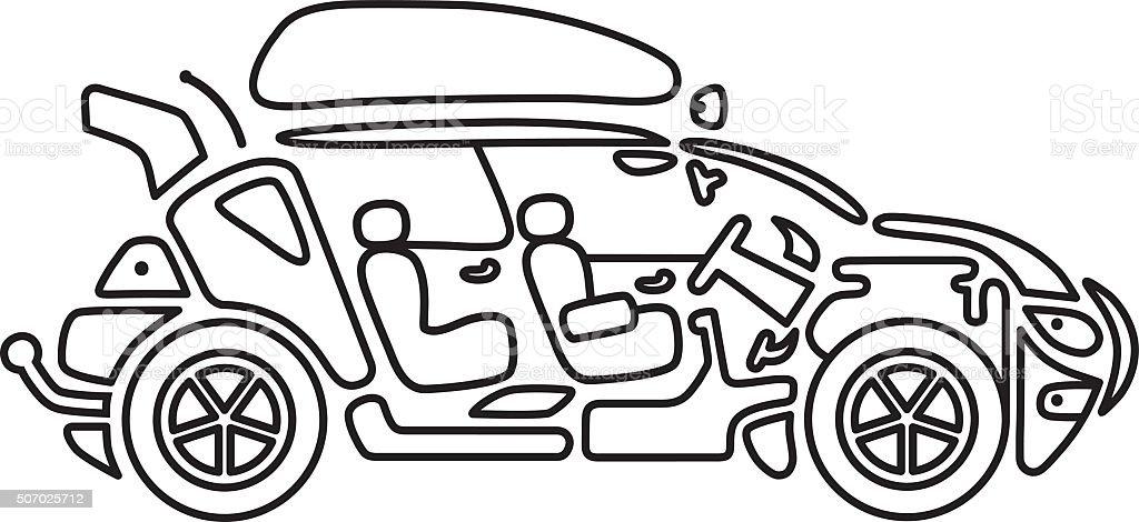 Line icon car vector art illustration