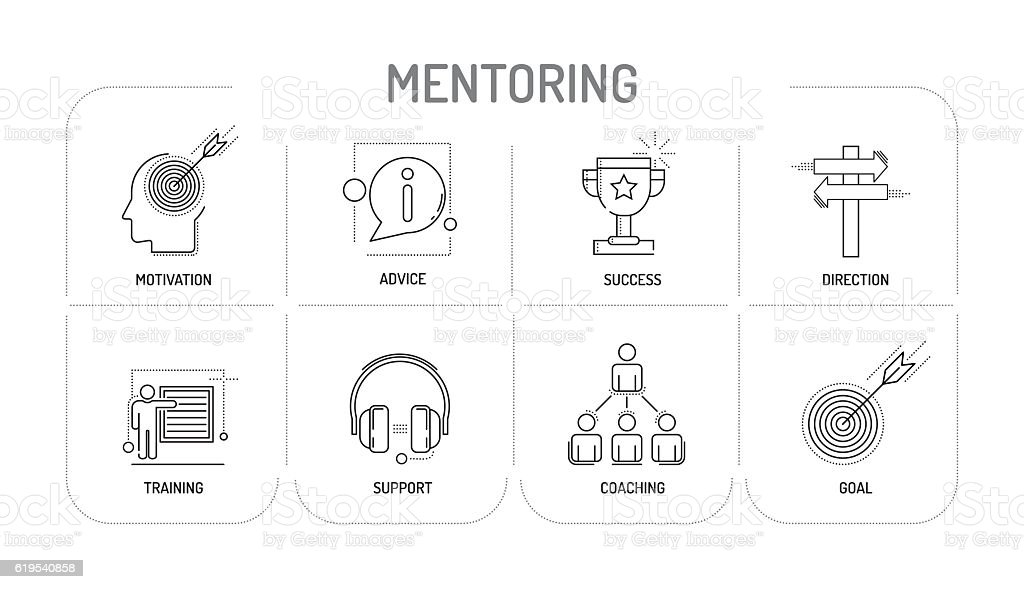 MENTORING - Line icon Concept vector art illustration