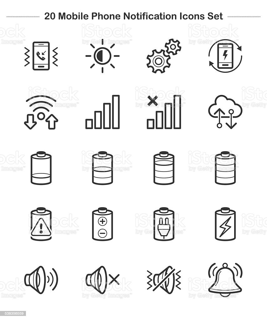 Line icon - Mobile Phone Notification, Bold vector art illustration