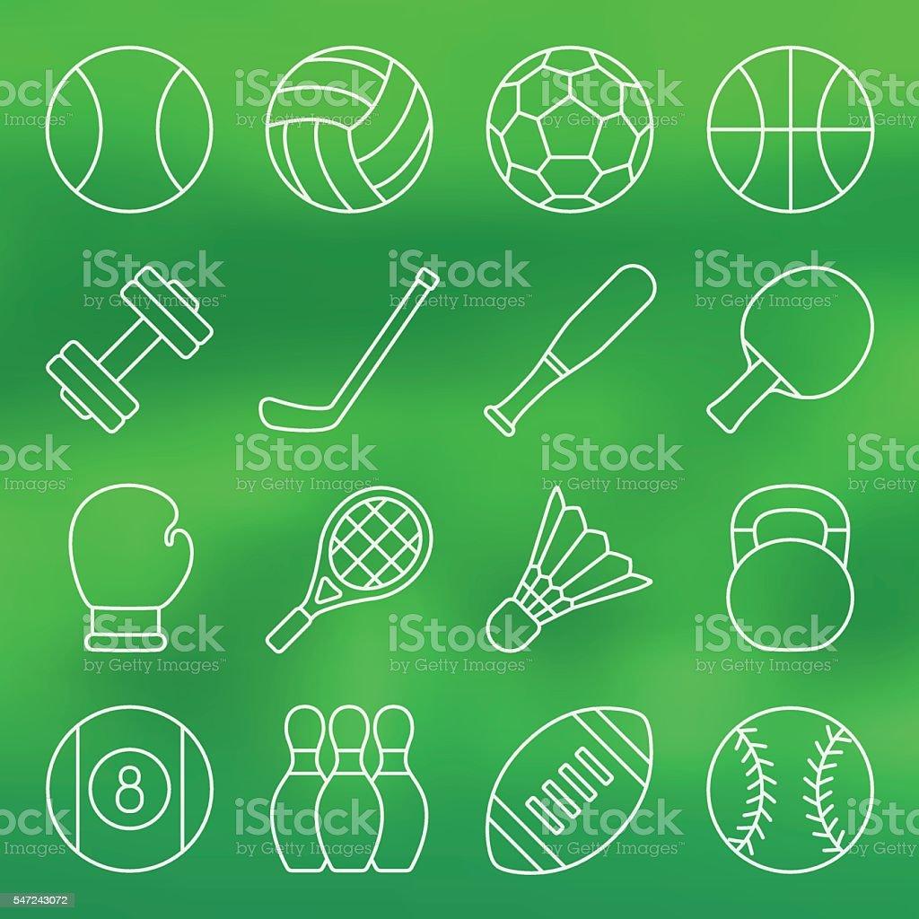 Line icon set of sports equipment vector art illustration