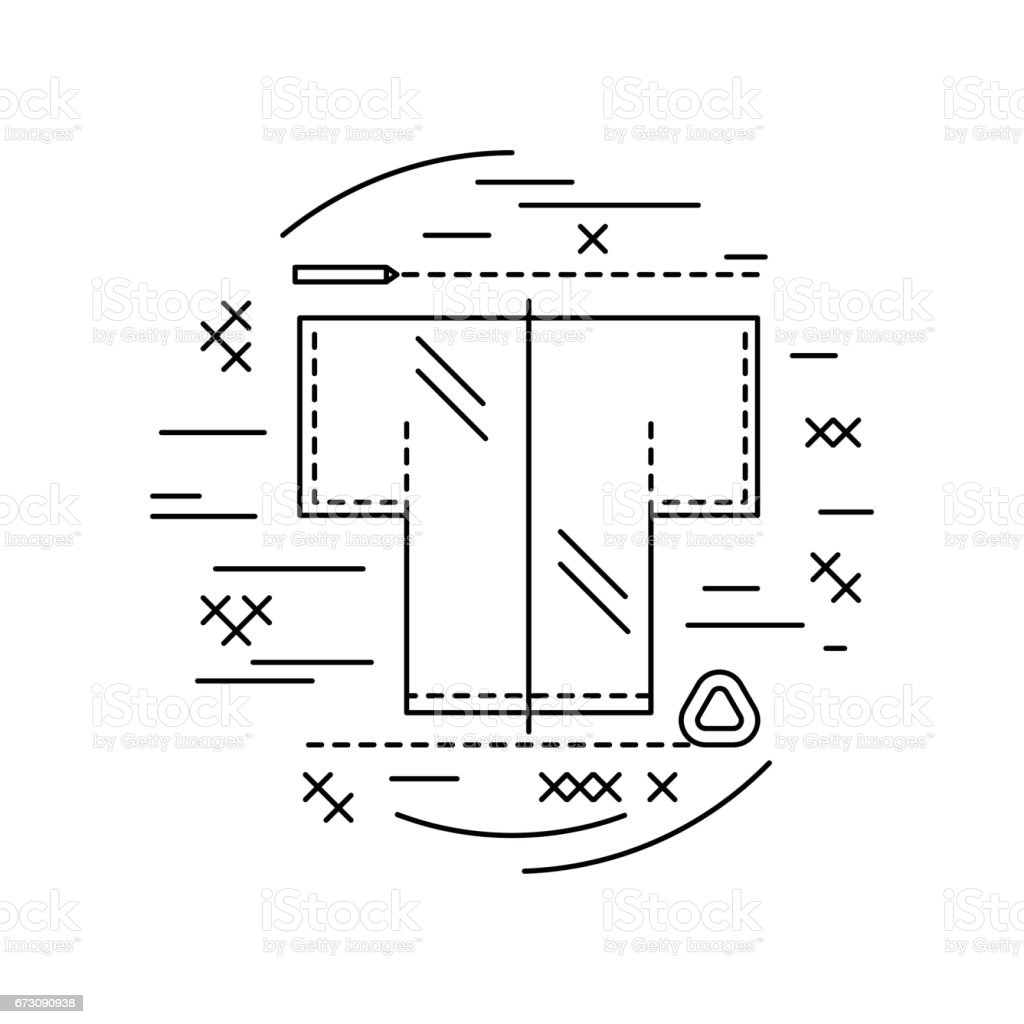 line icon Sewing pattern vector art illustration