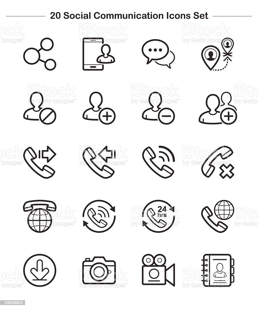Line icon -  Social Communication, Bold vector art illustration