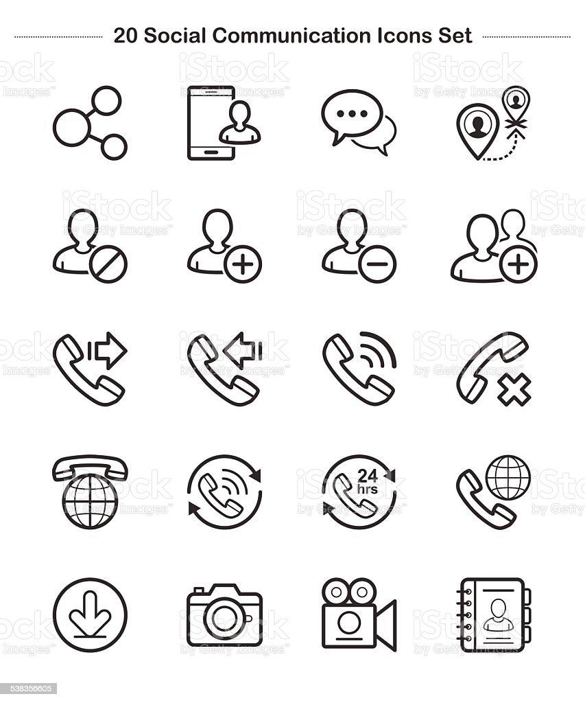 Line icon -  Social Communication, Bold vector art illustration