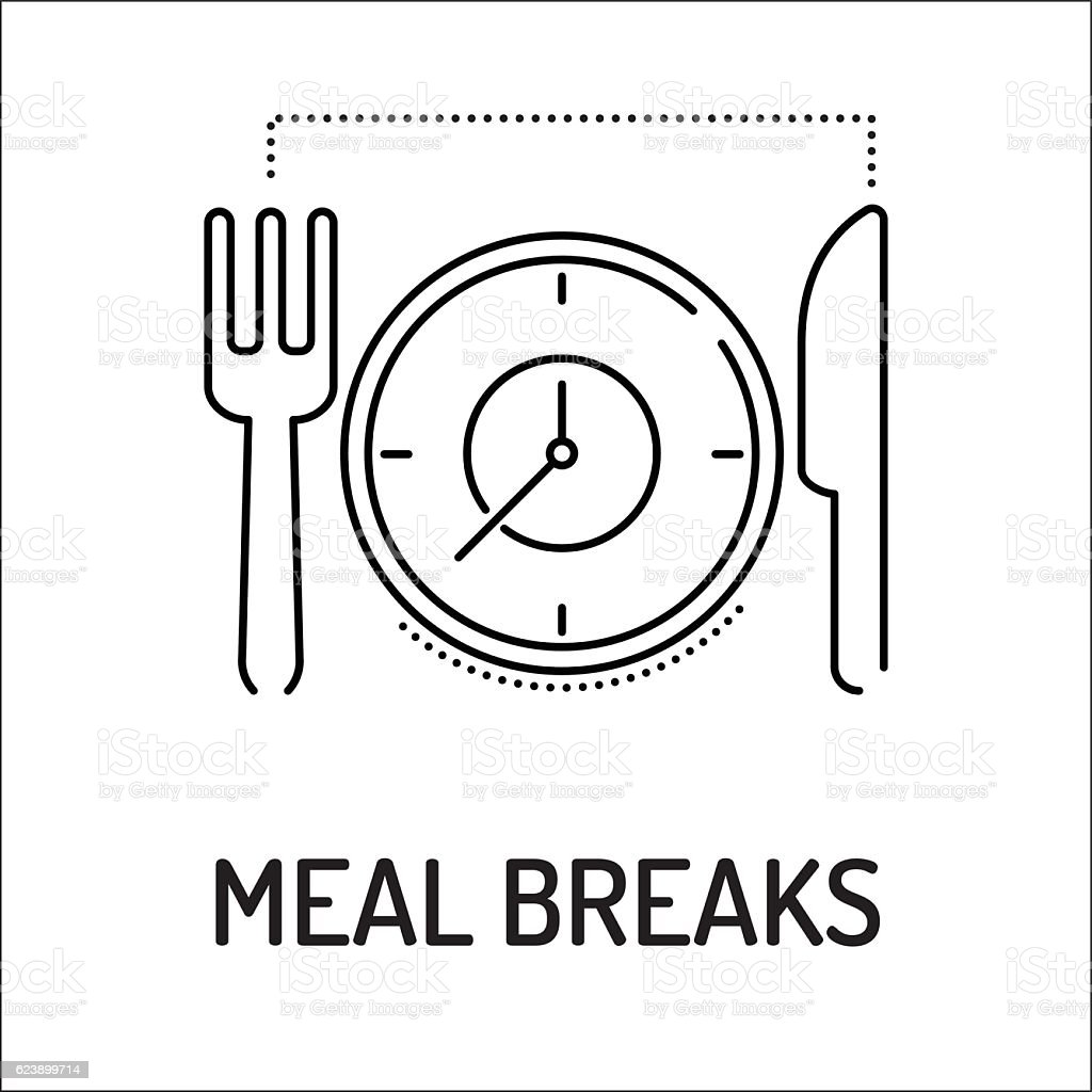 MEAL BREAKS Line icon vector art illustration