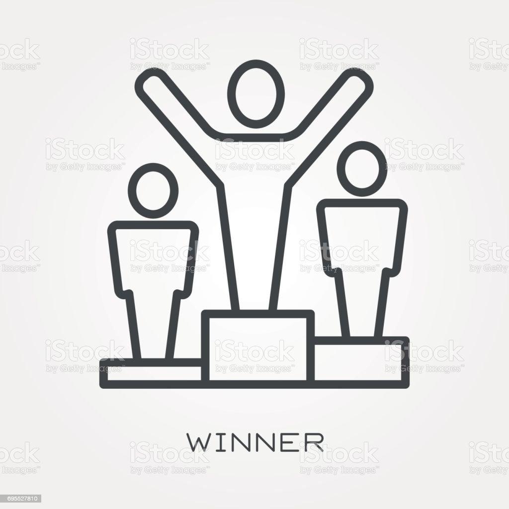 Line icon winner vector art illustration