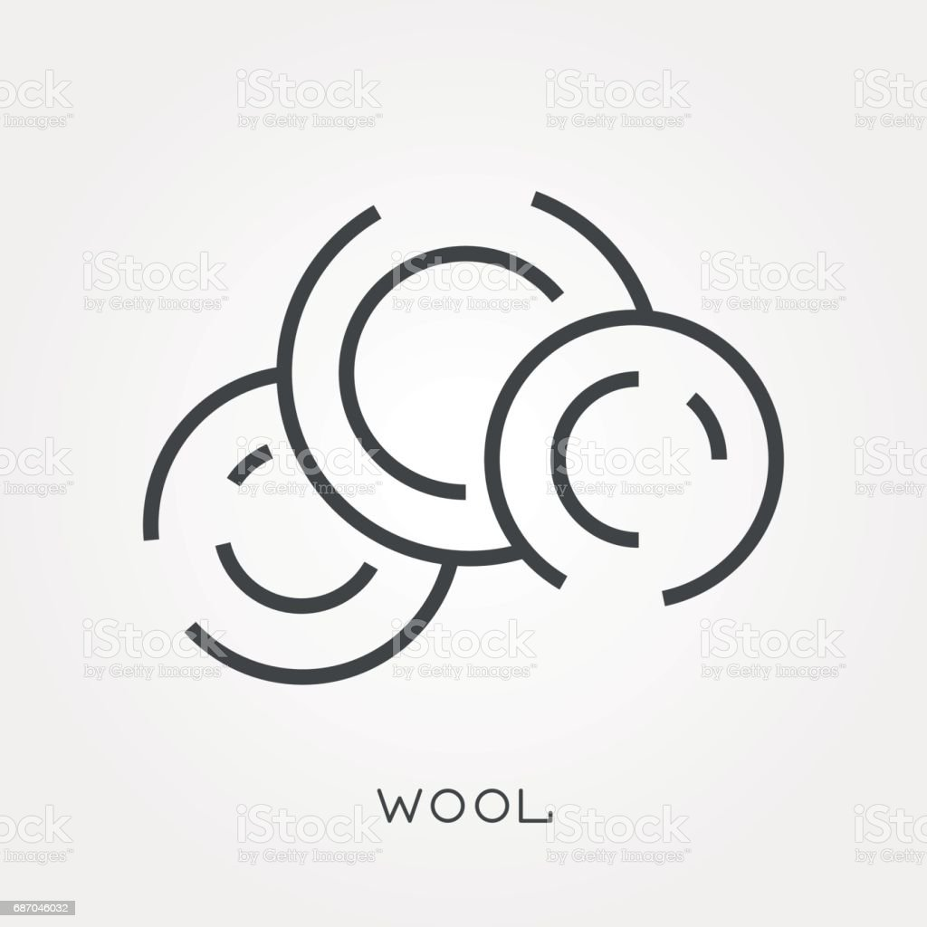 Line icon wool vector art illustration