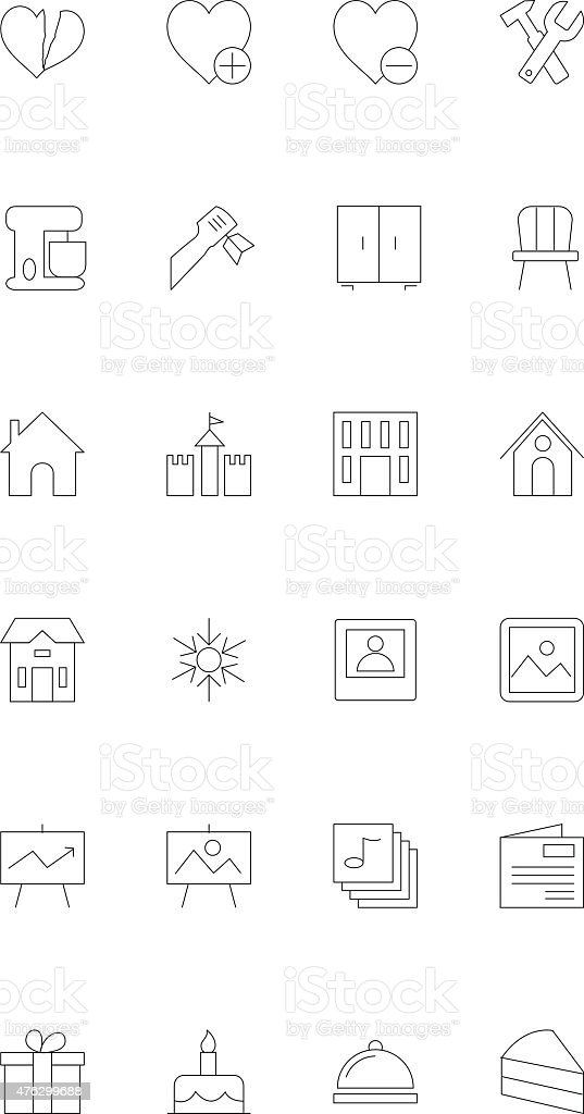 Line icons 15 vector art illustration
