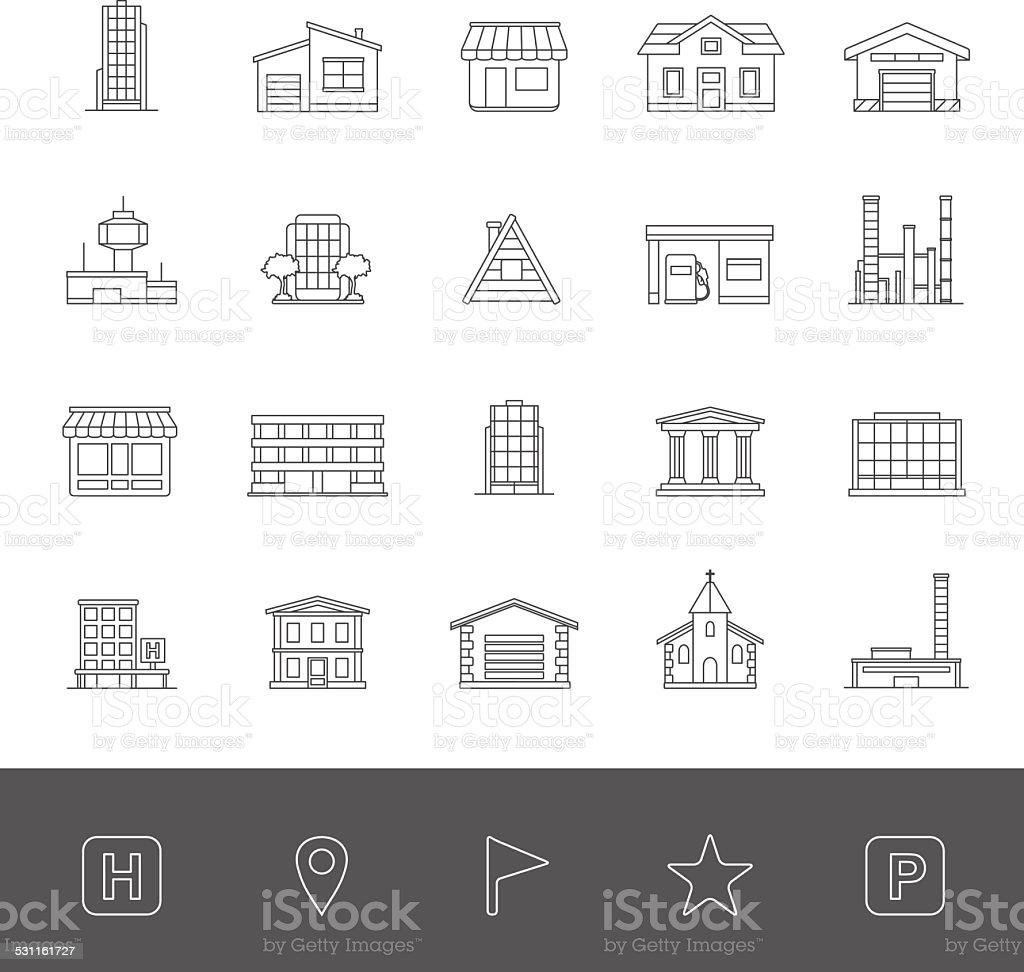 Line Icons - Buildings vector art illustration