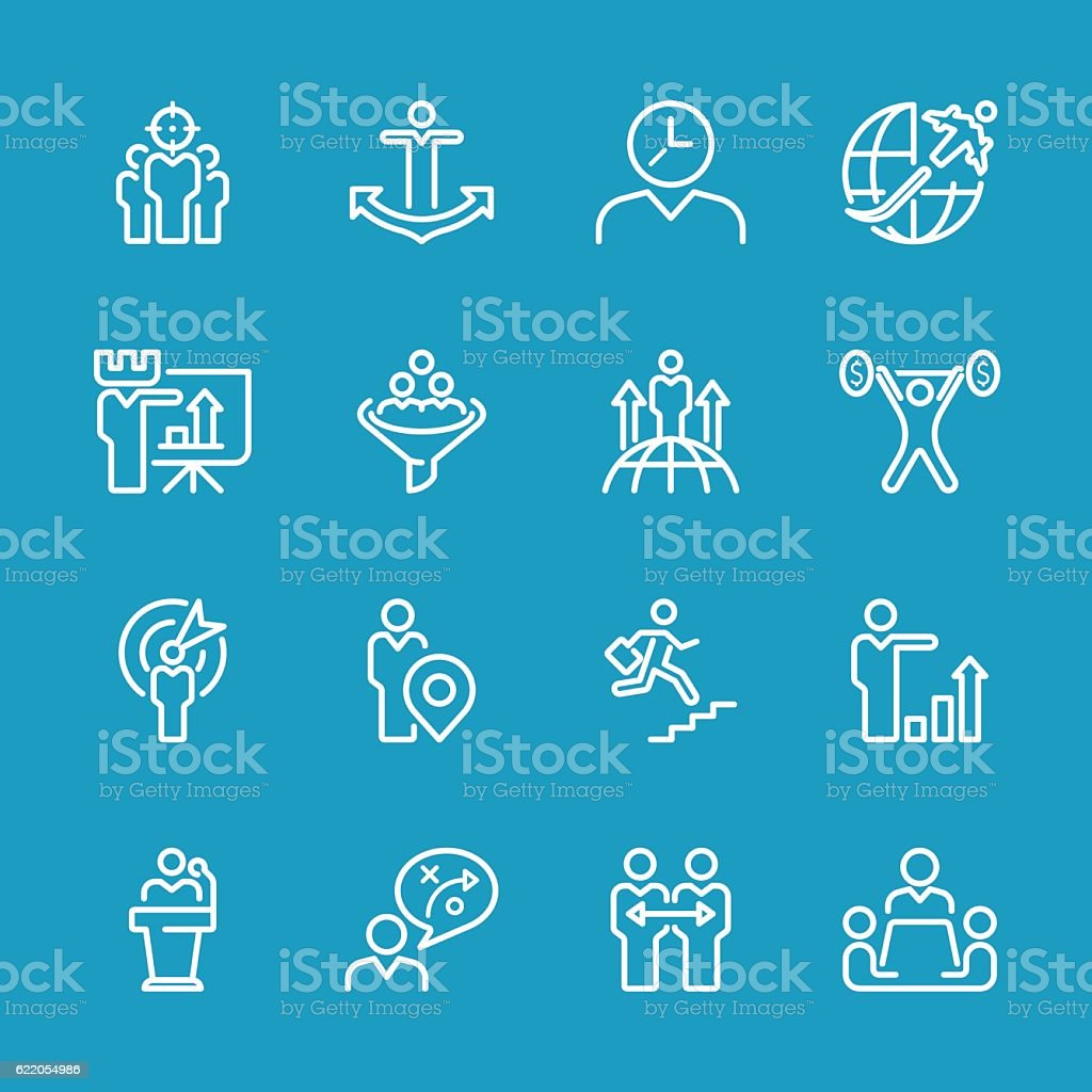 Line icons - Businessman & metaphor Series vector art illustration